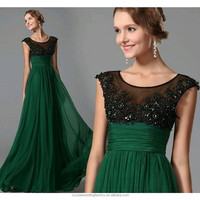 New Design Elegant Cheap Cap Sleeve Green Patterns Beach Bridesmaid or Evening Dresses Long LB36