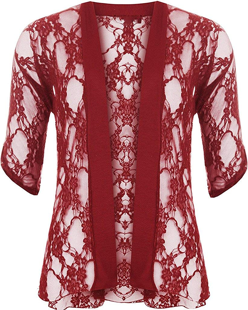 RM Fashions Ladies Womens Short Sleeves Lace Open Front Cardigan Shrug Sweater US 10 To US 24