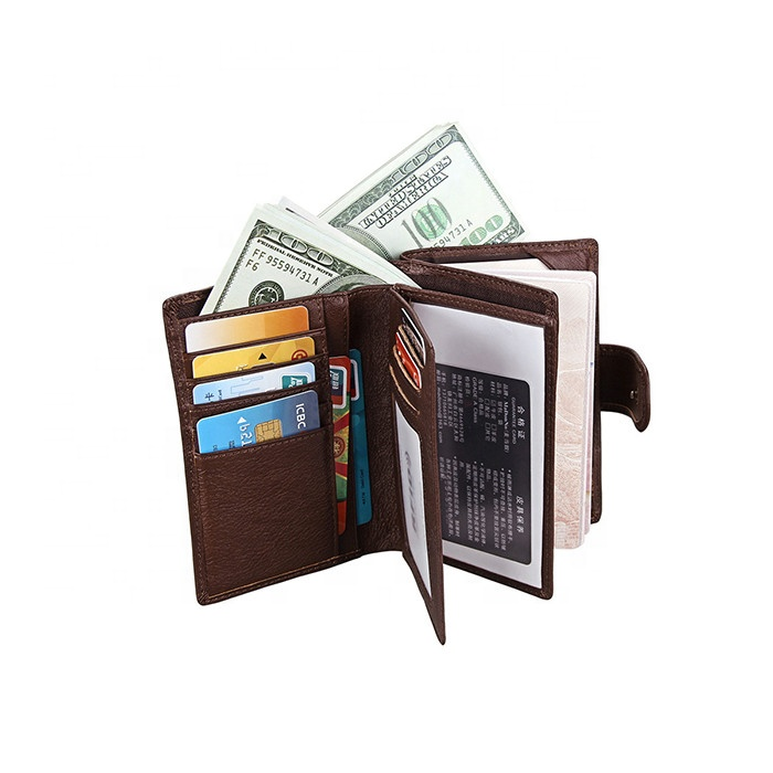 Leisure RFID Blocking Bifold Travel Passport Wallet Genuine Leather Credit Card Wallet