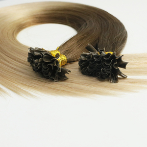100 % remy hair human hair extensions natural looking two tone / ombre nail tip fusion U hair for sale