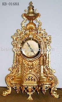 Exceptionnel Luxury Decorative Art Table Clock,marble Base(copper, 24K Gold Plated, Hand