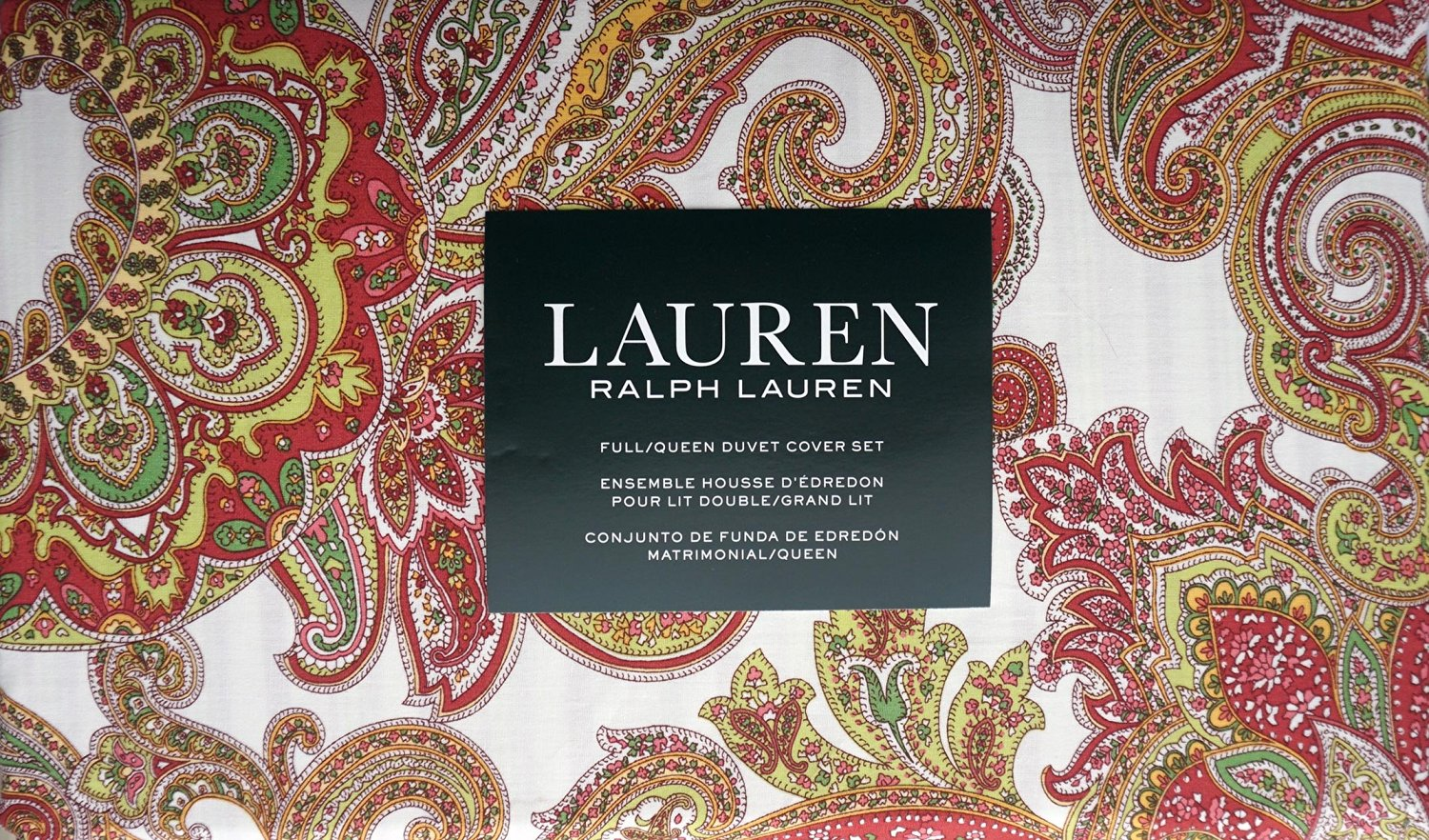 Lauren Ralph Lauren Bedding 3 Piece Full / Queen Duvet Cover Set Red Green Orange Yellow Paisley Pattern on White
