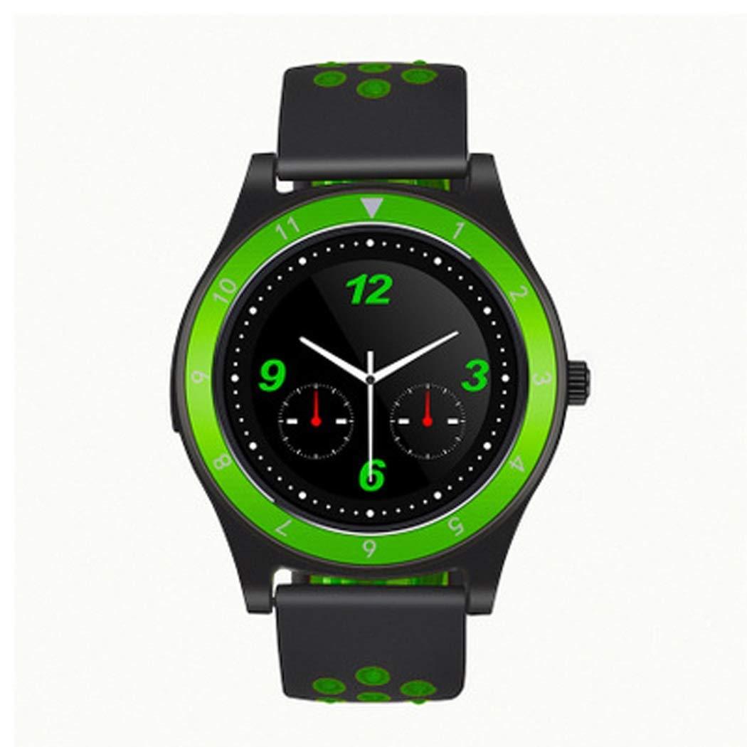 YWY Smart Watch Round Screen Fashion Smart Bracelet Pedometer Smart Reminder Fitness Tracker Remote Control Self-Timer Smart Watch Unisex (Color : Green Black)