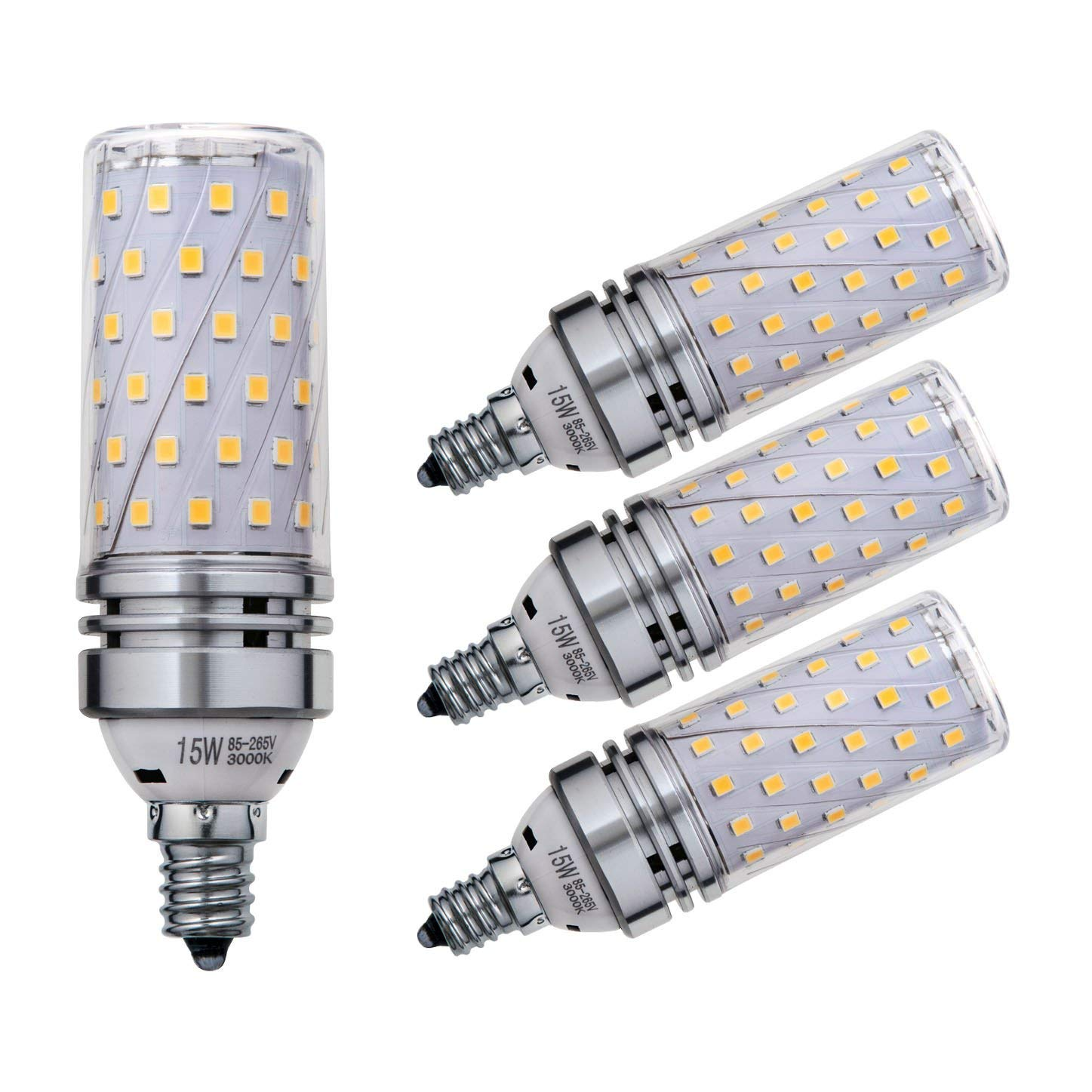 Sagel E12 LED Corn Bulbs 15W, 120W Incandescent Bulbs Equivalent, 3000K Warm White Candelabra E12 SES Bulbs, Non-Dimmable, 1500Lm, Small Edison Screw Corn Light Bulbs, 4-Pack