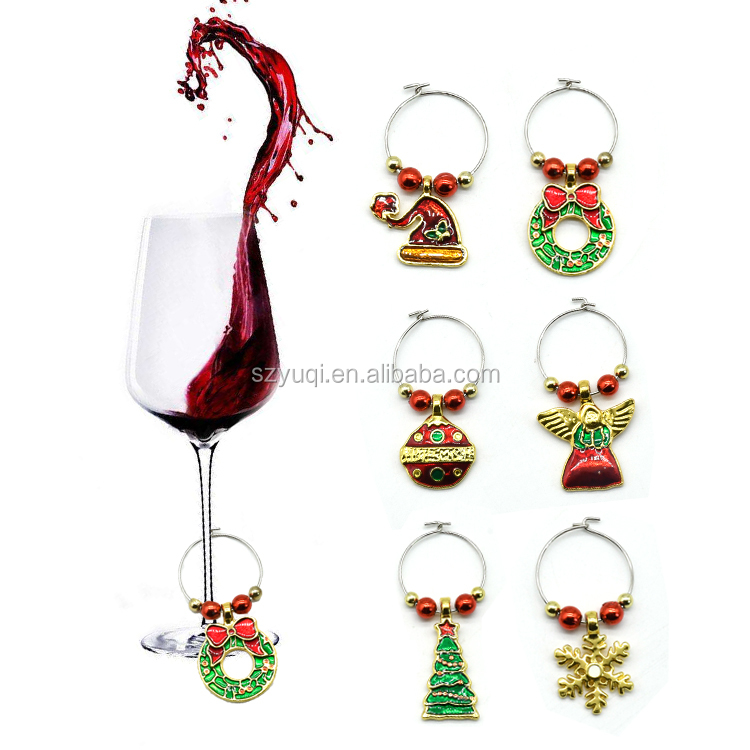 6pcs Christmas Wine Charms Xmas Wine Glass Marker Drink Markers for Christmas Party and Family
