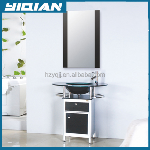 Floor standing Bathroom furniture/ Hot Sale Oak Wood Bathroom Cabinet / plywood Bathroom Furniture vanity with glass basin