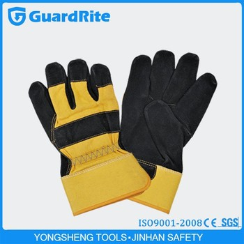 Guardrite Weight Lifting Gloves Industrial Leather Hand Gloves S ...
