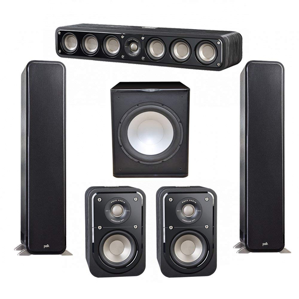Polk Audio Signature 5.1 System with 2 S55 Tower Speaker, 1 Polk S35 Center Speaker, 2 Polk S10 Surround Speaker, 1 Premier Acoustic PA-150 Powered Subwoofer