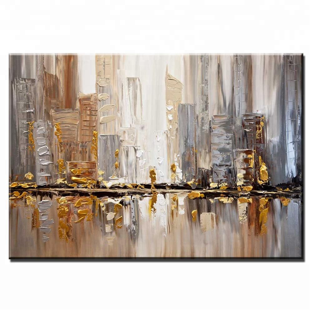 High Quality HandPainted Cityscape Abstract Canvas Oil Painting