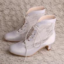 Women Low Heel White Lace Wedding Shoe Boots