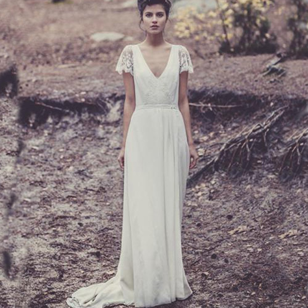 Backless Beach Wedding Dresses V Neck Flowing Vintage Boho: Custom \ Bridal Gowns With Sleeve Lace Vintage Bohemian