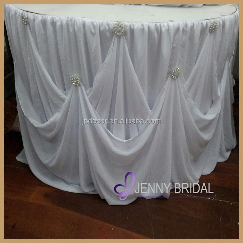 Tc106 New Table Skirting Designs White Chiffon Gathered