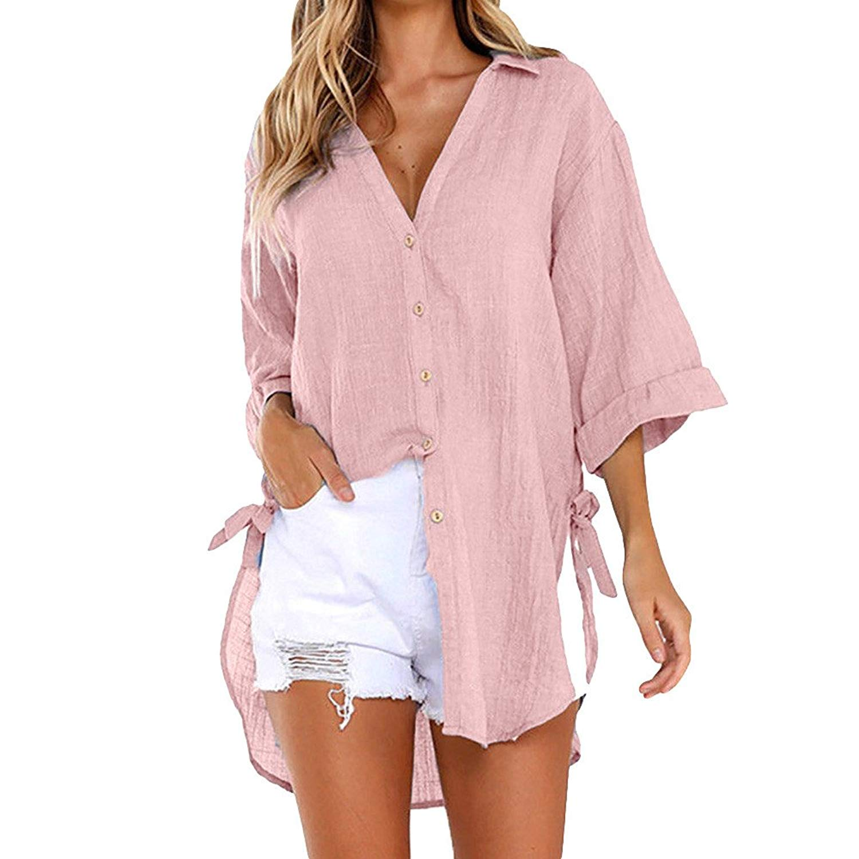 F_topbu Women Shirts and Blouses,Women's Long Sleeve Button up Solid Long Shirt Dress Casual Tops T-Shirt (Polyester)