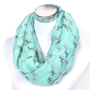 Fashion Bali yarn printing horse animal scarf wholesale