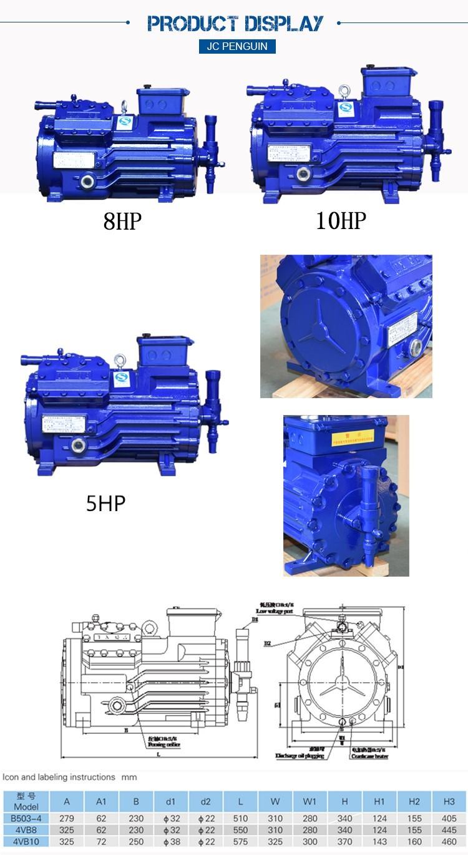8HP Piston semi-hermetic cool room compressor
