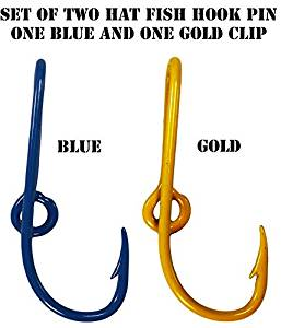 Custom Colored Eagle Claw Team Spirt Hat Fish Hook Pins One Blue and One Gold Hat Hook Clip
