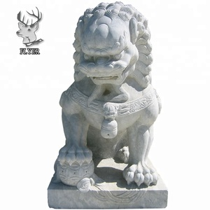 Gate decoration large white stone fu dog statue for sale