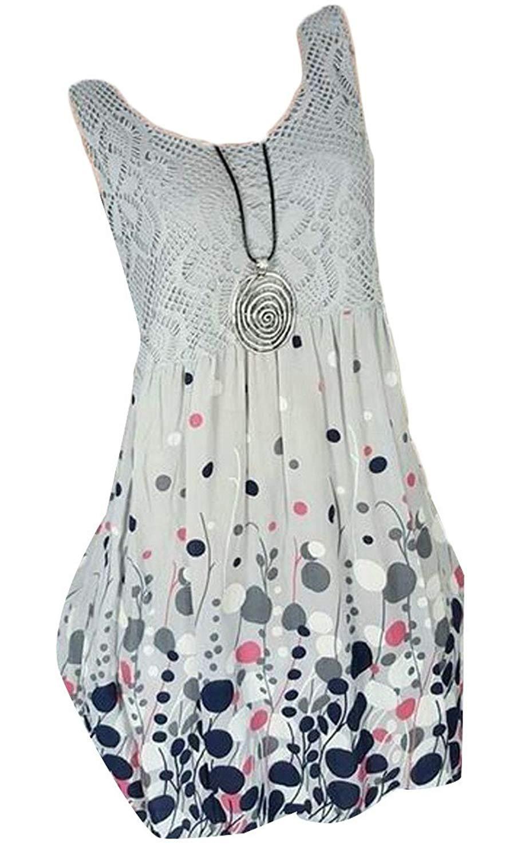 fc683eac4d5 Get Quotations · Etecredpow Women s Lace Splice O-Neck Print Sleeveless Big  Pendulum Sundresses Dress