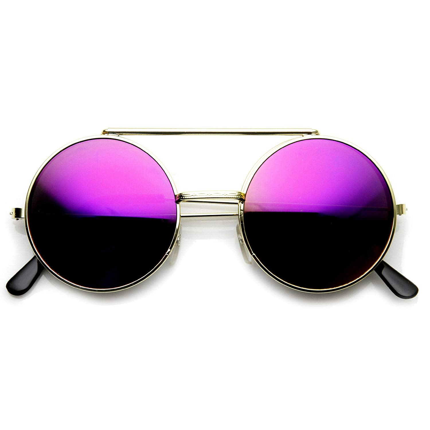 a3c0ddc6af5a8 zeroUV - Limited Edition Red Mirror Flip-Up Lens Round Circle Django  Sunglasses