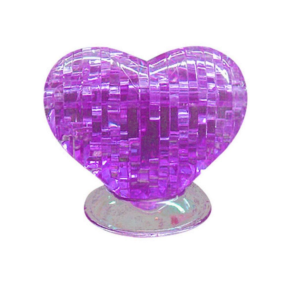 3D Puzzle Crystal Furnish Heart Jigsaw Puzzle IQ Gadget Pur Love Heart Educational Toys Plastic Model Kits Purple