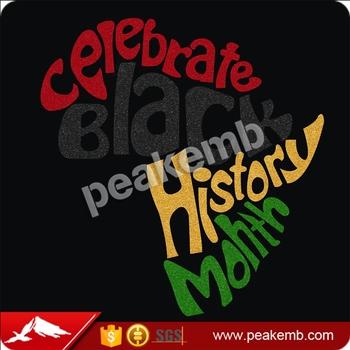 2b49e5072 wholesale Heat Glitter Celebrate Black History Month Heat Transfers Iron On  T shirts