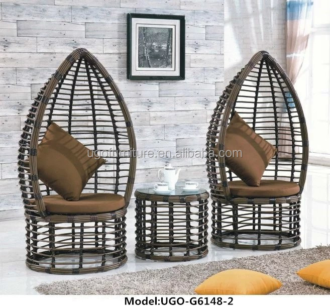 Awesome Heavy Duty Double Rattan Wicker Canopy Chair/rattan Egg Sofa Hanging Chair  For Sale