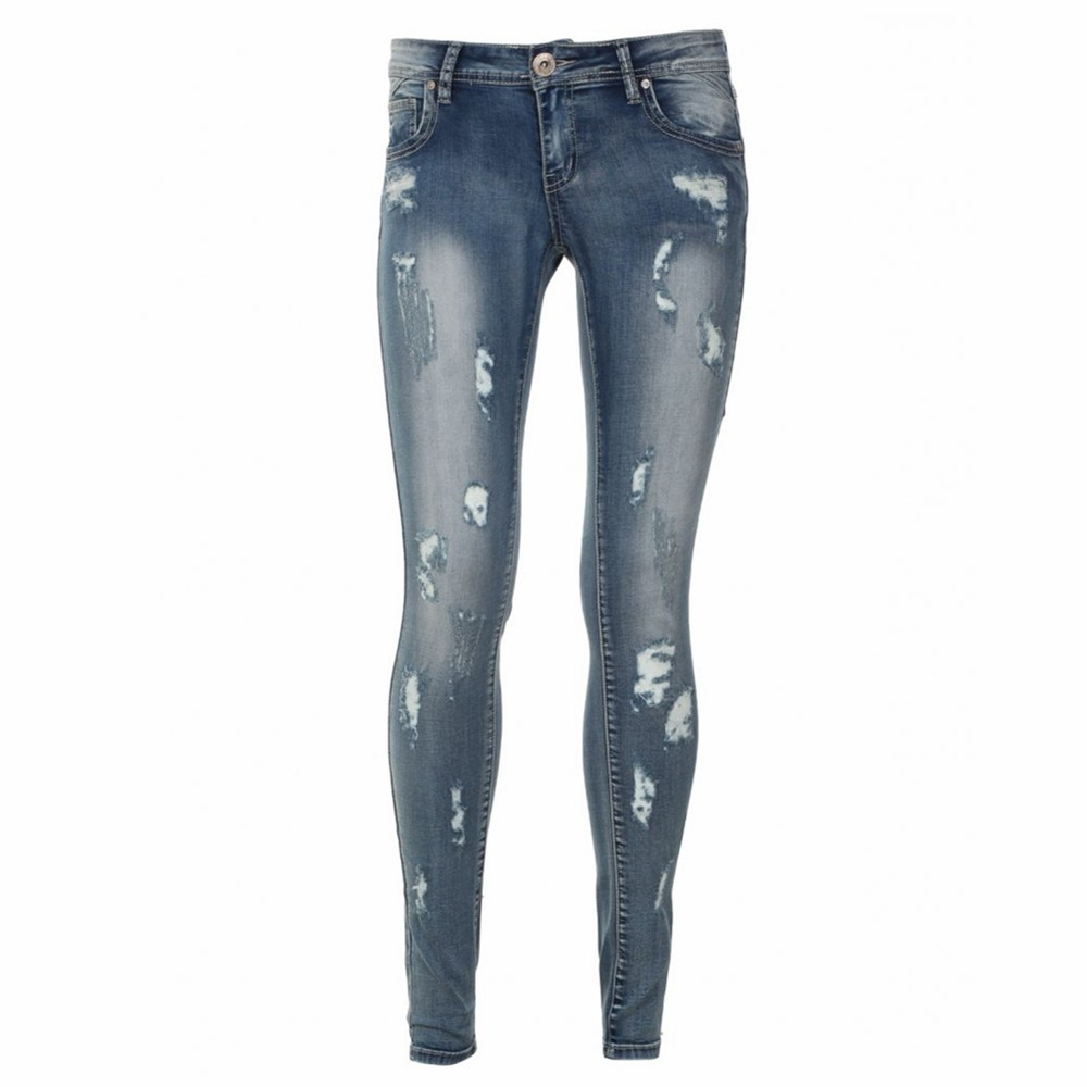 Customized Acid Washed Ripped Denim Jeans Women
