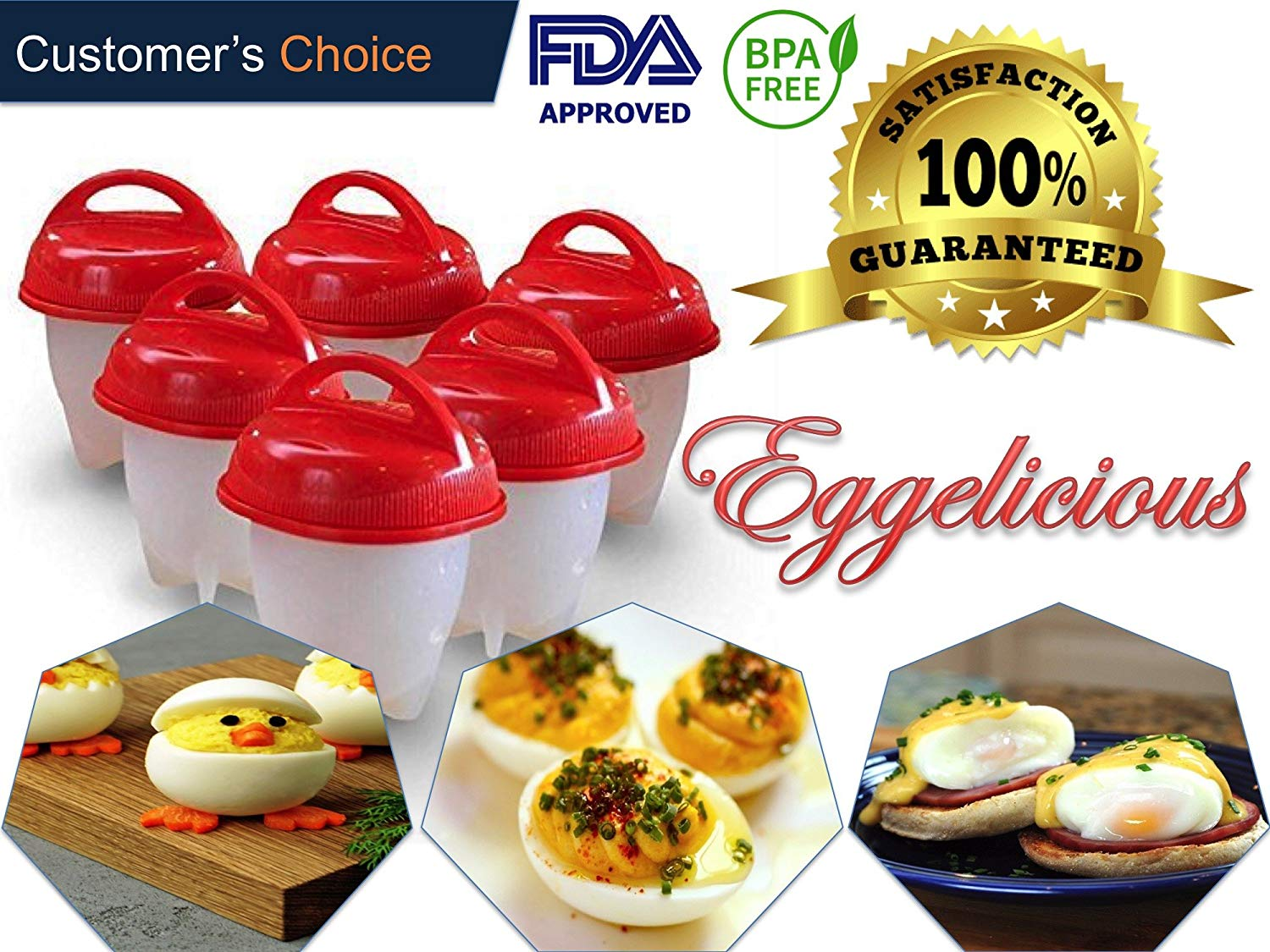 Eggelicious - The Original No Shell Egg Cooker and Boiler, Silicone Egg Cooking Molds for Hard and Soft Boiled Eggs without Shell. FDA Approved Food Grade Silicone, BPA Free (6 Piece Combo Pack - Red)