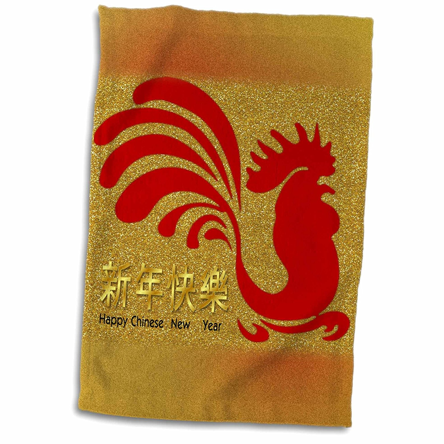 3dRose Florene Chinese New Year Designs - Image of Happy Chinese New Year With Red Rooster On Faux Gold Glitter - 12x18 Towel (twl_252072_1)