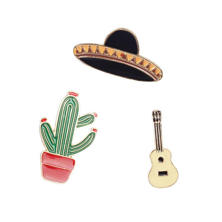 Fashion Collar Pins Brooches Enamel Label Pin Badge Cheap Custom Bulk Enamelled UFO Guitar Cactus Brooch 500283