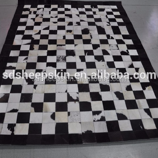 Nature Patchwork Cowhide Carpet Cow Hair On Leather Carpet cow skin patchwork