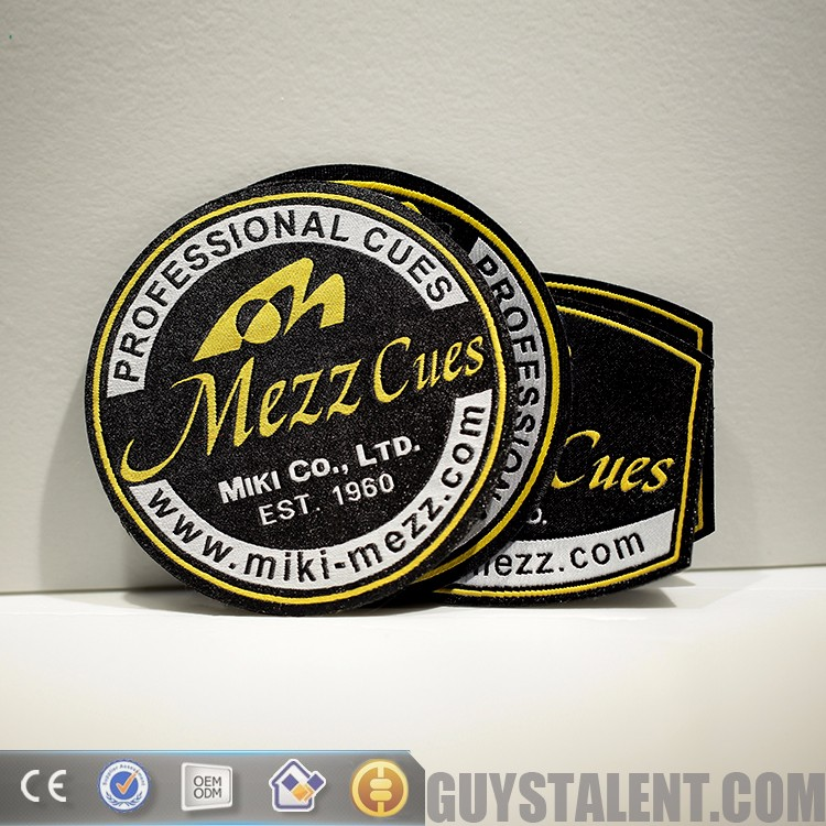 custom private brand name design woven embroidery badge