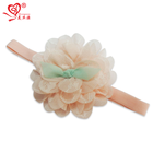 "Customized 3.5"" pink chiffon baby flower headband hair accessories"