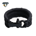 Wholesale 500 lb Paracord Survival Bracelet with Stainless Steel Black Bow Shackle