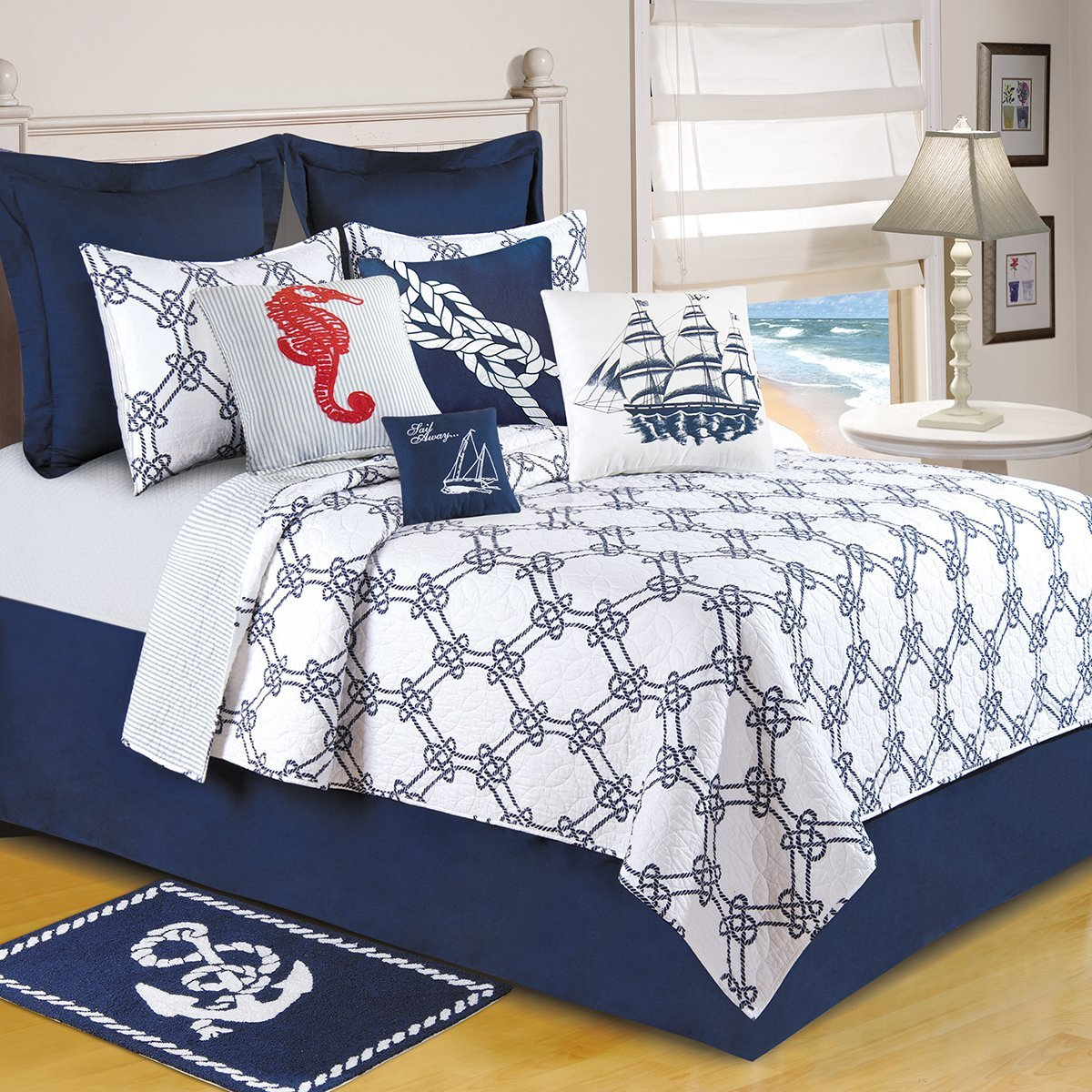 HT 1 Piece Navy White Geometric Pattern Oversized Quilt King, Blue Coastal Nautical Knots Teen Themed Reversible Blue Stripe Pattern Kids Bedding for Bedroom Casual Colorful Fancy, Cotton