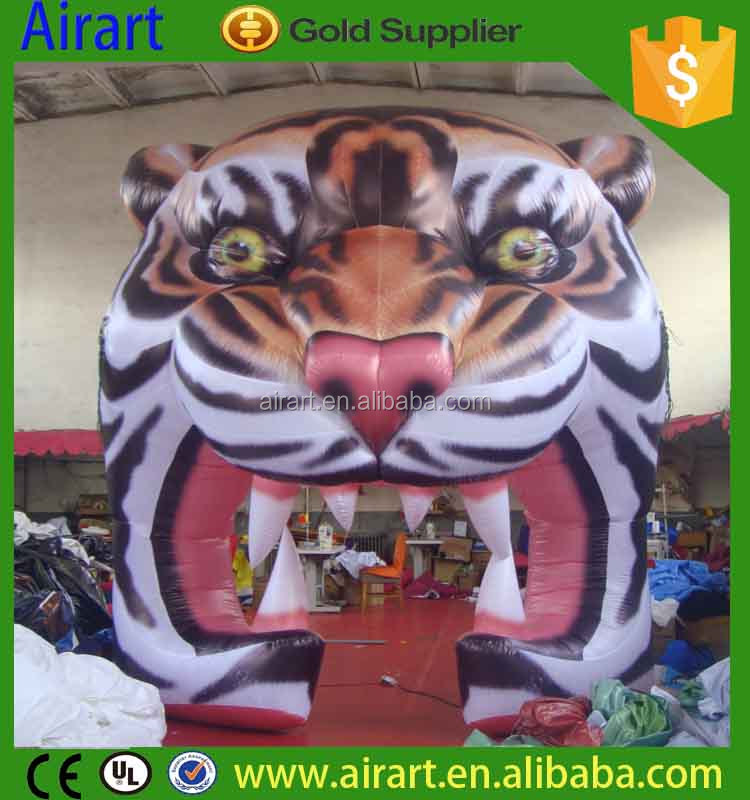 giant high inflatable tiger tunnel vivid inflatable tiger head for stage
