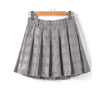 371a339c8d 2019 Summer Casual Vintage Gray Women Pleated A-line Grid Mini Skirt ...