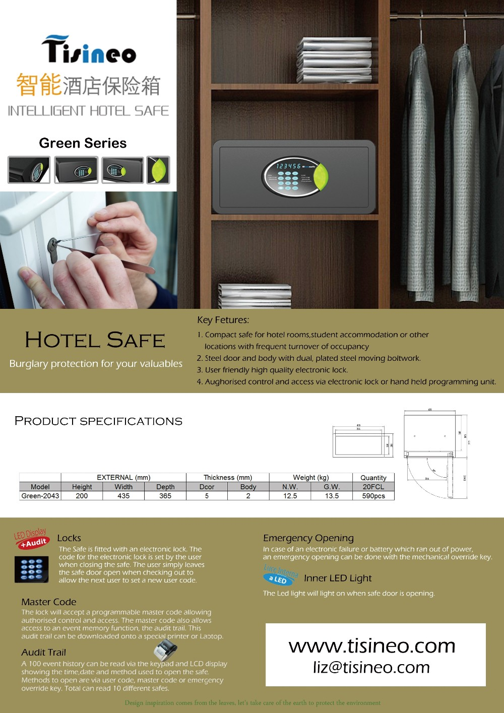 Hotel Safe Laser Cutting Safe Green-2043 - Buy Electronic Locks For Hotels  Product on Alibaba com