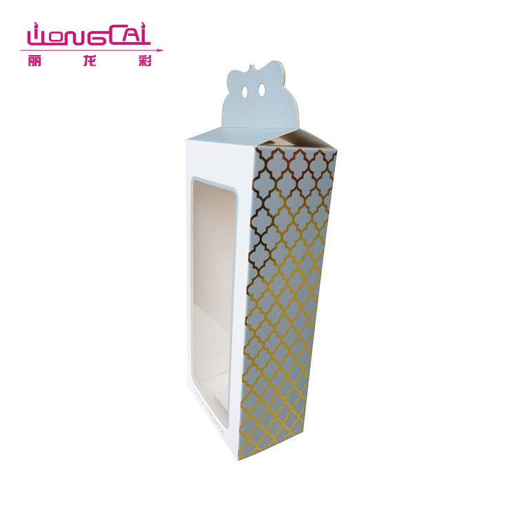 Different types custom printed logo hanging gift paper clear pvc packaging box