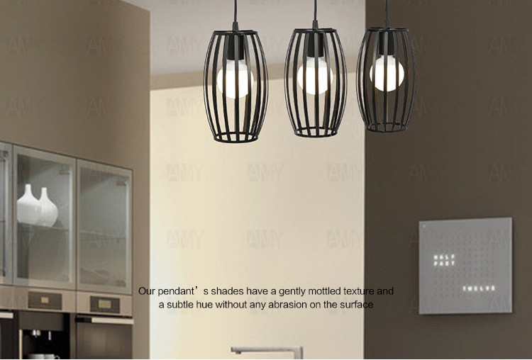 Modern Metal Lantern Cage E27 Black Bar Pendant Lamp