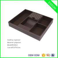 Valet Tray Organizer For Desk, Dresser Top Or Nightstand - Deluxe Leather Storage, Great Catchall coin tray for men and women