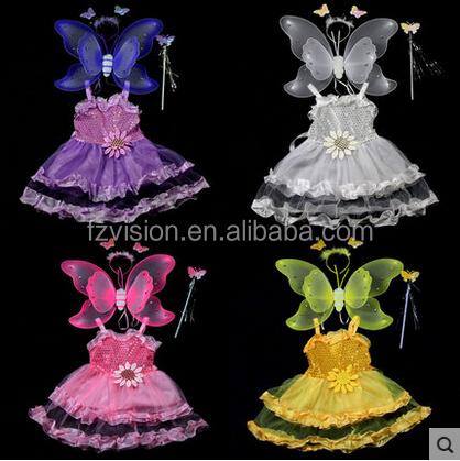 comercio al por mayor pink kids vestido baile latino con ngulo alas de mariposa de hadas