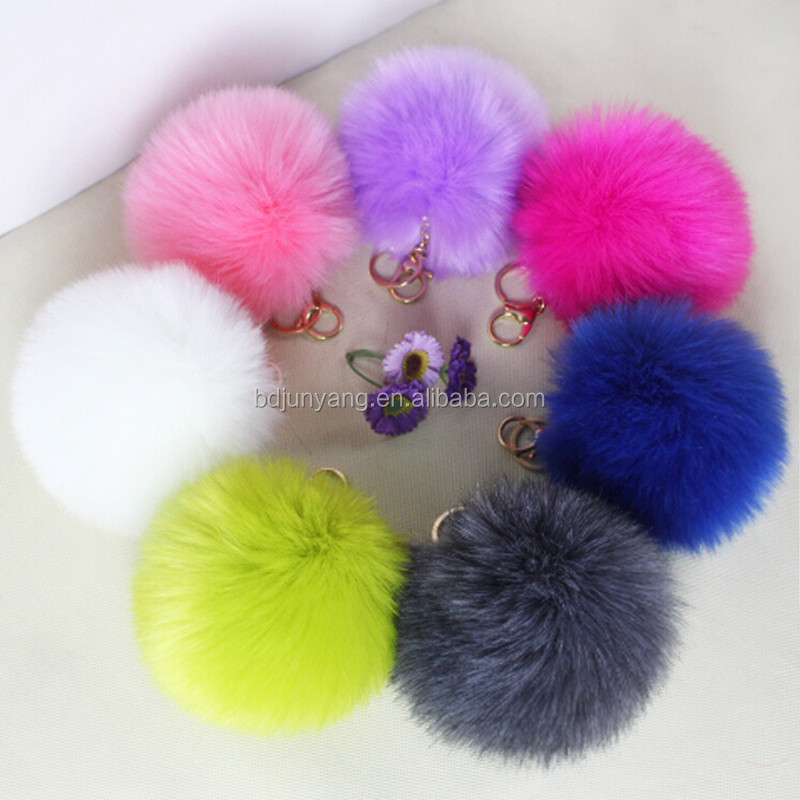 fake rabbit fur bag charm/faux fur pom pom keychain/decorative balls for bowls