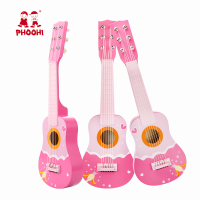 Children fairy musical instrument 21 inch wooden pink kids guitar toy for 3+