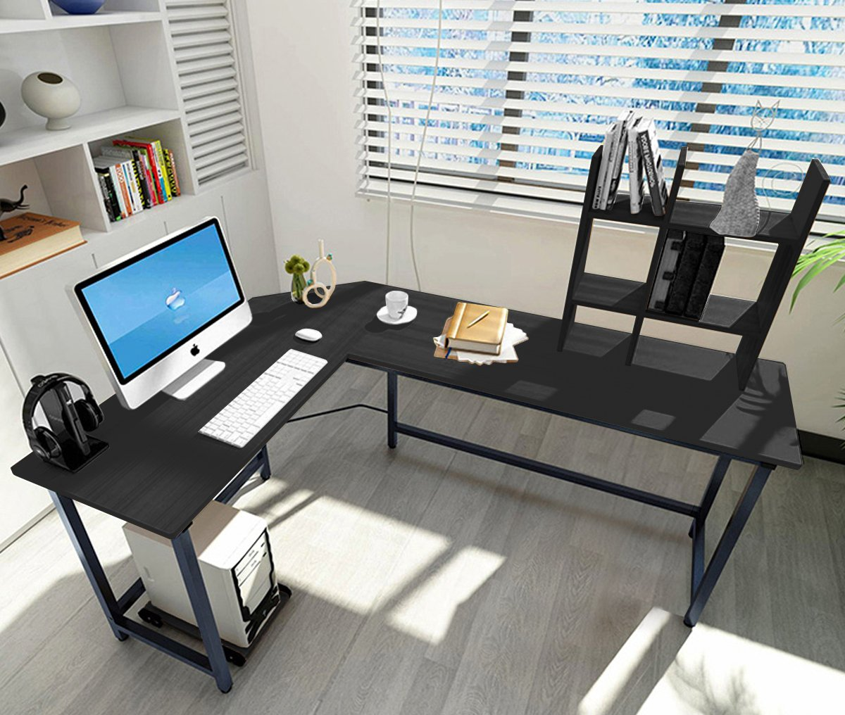 L-shaped Large Computer Desk Table Office Laptop PC Workstation with Free CUP Stand and Storage Shelf (Black)