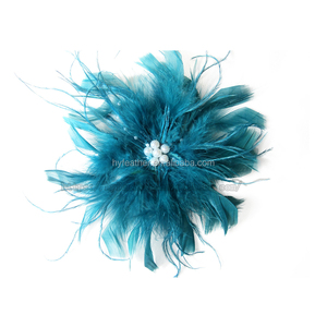 Manufacturer BF-75 Chandelle-Ostrich Feather Clip Bridal White Feather Flower Halloween Decor Hair Accessory