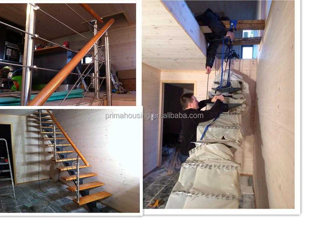 Stainless Steel Rod Bar Railing / Glass Railing Wood Arc Stairs ...