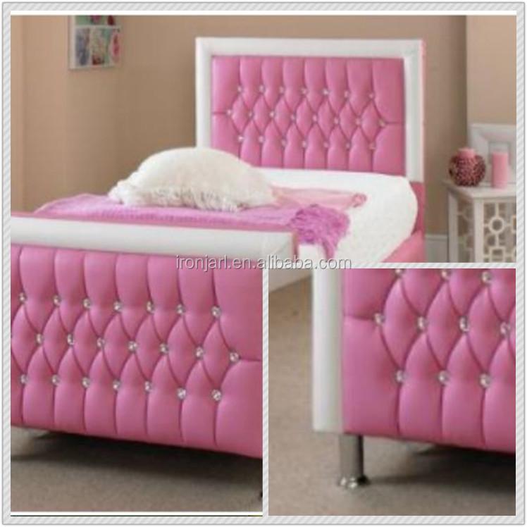 Lovely Pink Pu Cuero Diamante Cama De Cabecera Marco Para Niñas Y ...