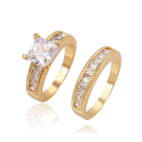 13507 Xuping Luxury Alloy CZ Wedding Rings for Women & Men's Promise Jewelry