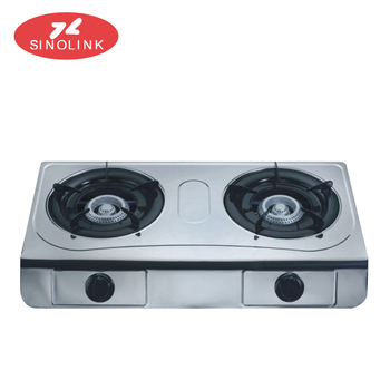 Ce Portable Stainless Steel 2 Burner Gas Stove Automatic Shut Off